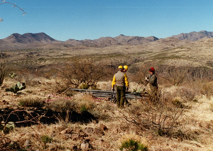 11-  BLM Bonita Creek Livestock Water - Preparing delivered solar tracker for re-lift and placement by helicopter